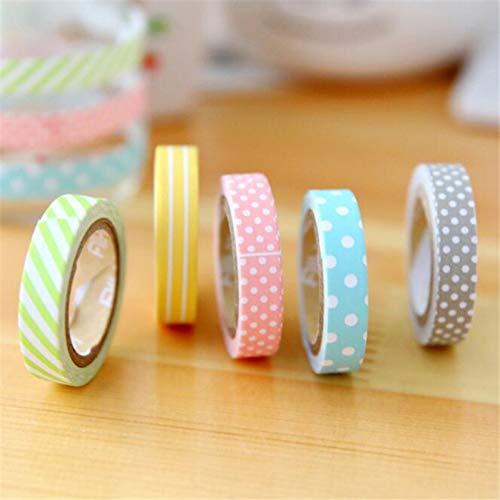 JKOU Tape Student 5 Teile/Los DIY Nette Candy Farbe Klebeband Schöne Dot Streifen Abdeckband Für Hauptdekoration (Dem Auf Dot Papier Candy)