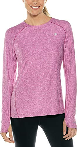 Coolibar UPF 50+ Damen Fitness-T-Shirt, langärmelig, Sonnenschutz - Violett - Mittel