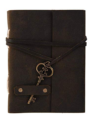 PRASTARA Handmade Belt Key Lock Notebook Journal Leather Diary Brown 5x7 Inch