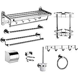 Touyyo Porte-serviettes de salle de bains en acier inoxydable rack salle de bains pliant matériel porte-serviettes suspendu ensemble, neuf ensembles