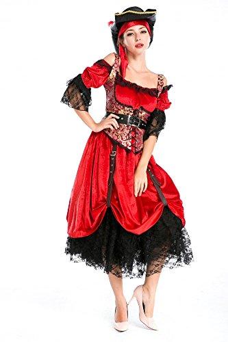 Kostüm PIRATIN DELUXE - langes Kleid mit Schnallen Gr. S/M (Deluxe Piraten Kapitän Sexy Kostüm)
