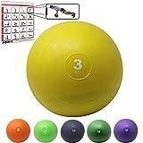 POWRX Slam Ball Palla Medica 3 kg - Ideale per Esercizi di »Functional Fitness«, potenziamento e tonificazione Muscolare - Contenuto in Sabbia ed Effetto Anti-Rimbalzo + PDF Workout (Giallo)