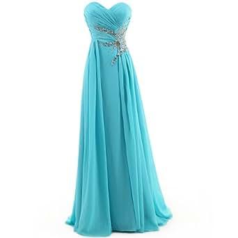 Dresstells Damen Chiffon Herzförmige Abendkleider Ärmellos Cocktail Brautjungfernkleid Blau Größe 32