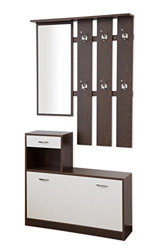 Garderoben-Set 3-teilig SIENA 100cm breit (weiss/nussbaum) mit nässebeständigen und kratzfesten Melaminbeschichtung