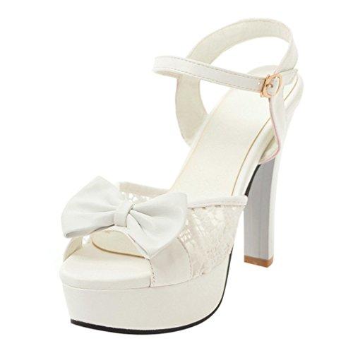 Ye donna sandali scarpe con tacchi a spillo alti pizzo con platau farfalla decorata da sposa (bianco,37)