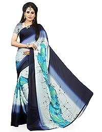 Gaurangi Creation Satin Chiffon Printed Casual Wear Sarees For Women (RSS1003 Blue)