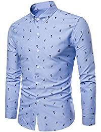 BUSIM Men's Long Sleeve Shirt Autumn Casual Fashion Slim Cotton Personality Print Stand Collar Trend T-Shirt Tops...