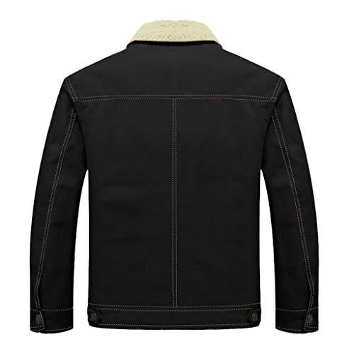 serliyHerren Winterjacke,Hochwertiges Kunstleder Lederjacke Parka/Mantel mit Fell warme Mens Jacket gefüttert übergangsjacke für Jugendliche und Erwachsene