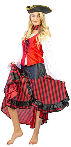 Nick and Ben Piratin Kostüm-Set für Kinder und Frauen | Verkleidung für Karneval | 5-teilig | Bluse Weste Rock Halstuch + Hut | schwarz rot weiß |: Größe: ()