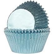 24 Muffinförmchen baby blau Papierbackförmchen -51x38mm - Folie