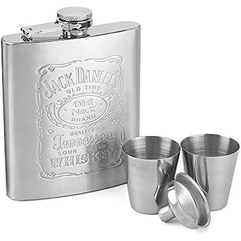 Petaca de alcohol, Zogin 7 onzas Juego de petaca de acero inoxidable para whisky licor alcohol