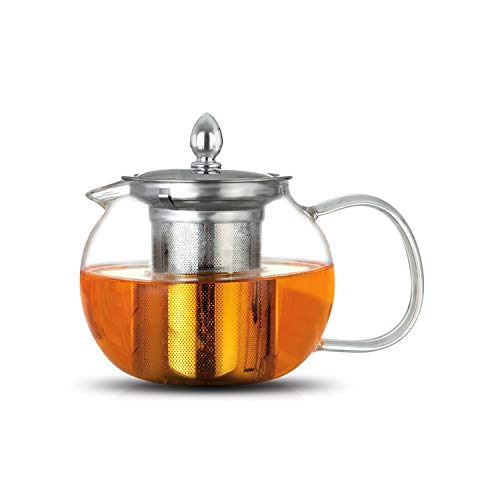 Glass Teapot Infuser 600 ml Borosilicate 304 Stainless Steel Lid, Clear Teapot Infuser and Loose Leaf Teapot Infuser