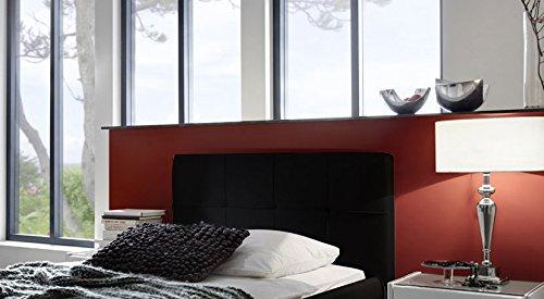 SAM® Zarah Polsterbett in 8 verschiedenen Größen, in weiß oder schwarz, Bett mit gepolstertem Kopfteil im abgestepptem Design und pflegeleichter