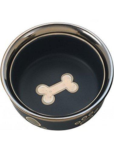 ethical-stoneware-dish-688825-5-in-ritz-copper-rim-dog-dish-black
