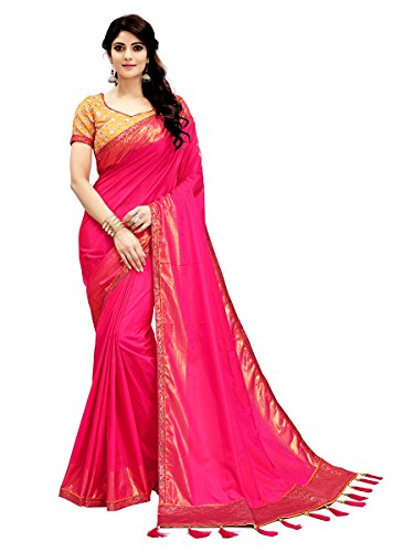 Monjolika Fashion Women's Two Tone Silk Saree (30685_Magenta_Freesize)