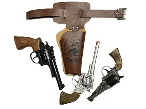 KarnevalsTeufel Wilder Westen Set für Kinder und Erwachsene Gürtel-Tasche braun Pistole Cowboy-Sheriff-Set (Modell 2)