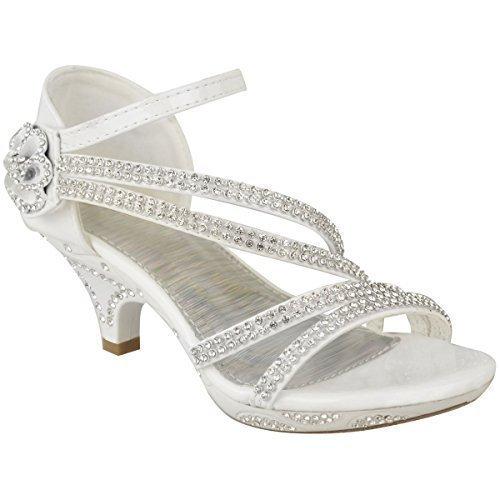 Neue Mädchen-kinder Niedriger Absatz Hochzeit Strass Sandalen Brautjungfer Party Schuhe UK Größe - Weiß Patent, KIDS UK 2/EU 35 / US 4 (Kinder Schuhe Strass)
