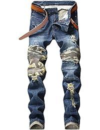 5ea7c40109 WanYangg Vaqueros Rotos Hombre Jeans Rasgados Denim Pantalones Rajados  Camuflaje Elasticos Rectos
