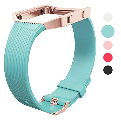 Wearlizer für Fitbit Blaze Armbänder, Silikon Slim TPU Ersatzband Zubehör Armband für Fitbit Blaze Sportuhr Damen Herren - Small/Large Grün