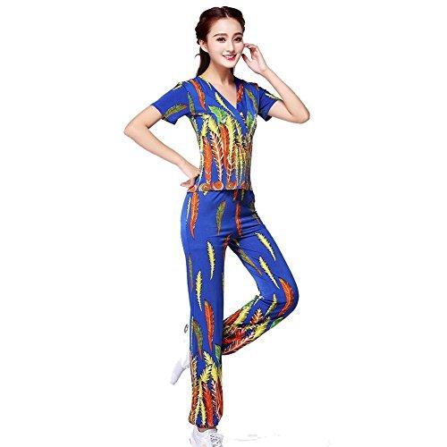 Wgwioo Frauen Latin Square Peacock Dance Print Erwachsene Hosen Performance Dress Up Anzug Praxis Match Uniformen Professionelle Performance Sets, Blue, ()