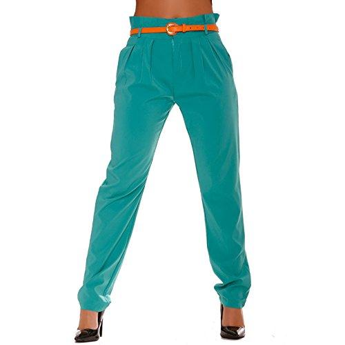 Miss Wear Line -  Pantaloni  - a sigaretta - Donna verde (Pantaloni Misses Lino)
