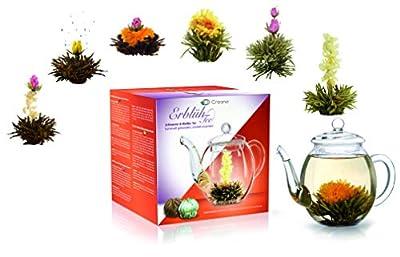 """Creano Mélange de fleurs de thé - Coffret cadeau """"AbloomTea"""" avec pot en verre 500ml de thé blanc et thé noir avec 6 boules de thé 3X thé blanc et noir chacune"""