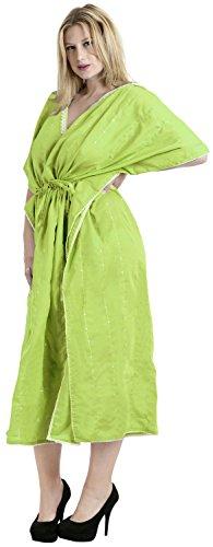 La Leela tout en 1 dames rayonne fête cocktail tunique bikini brodé couvrir top robes chambre maillots bain cordon nuisettes profond col kimono maxi longue robe soirée caftan femmes Vert