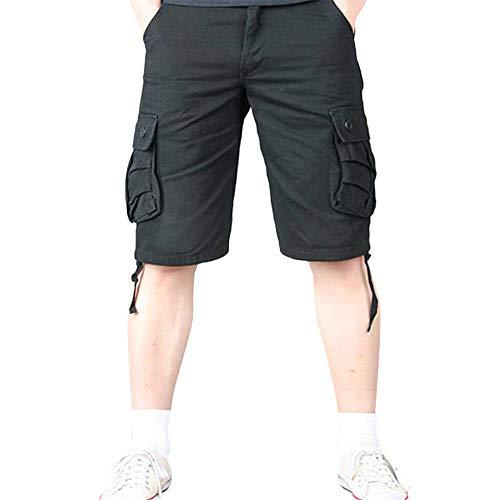 Aiserkly Herren Sommer Multi-Pocket Overalls Shorts Cargo Kurze Slim Fit Arbeitshose mit Bundfalte Freizeithose Hose -