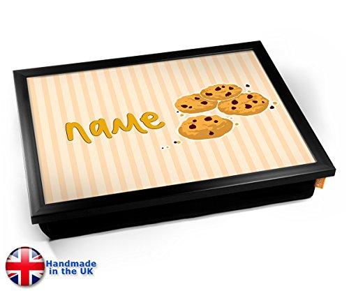 Cookies Personalised Childrens Name Cushion Lap Tray Kissen Tablett Knietablett Kissentablett - Schwarzer Rahmen
