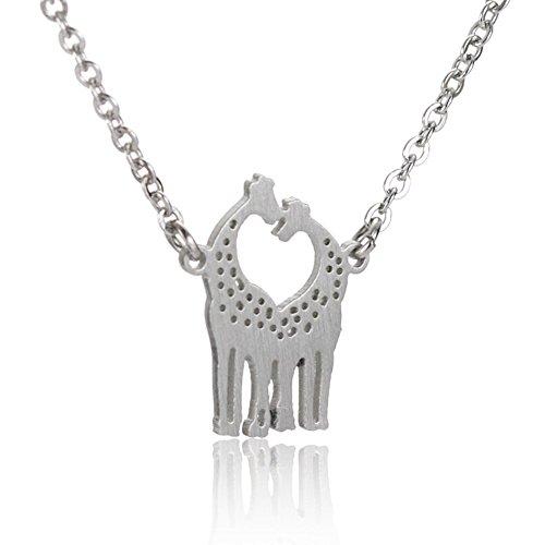 AOLOSHOW Silber Giraffe Anhänger mit 41cm Kette Elegant Halskette für Damen Mädchen Schmuck Edelstahl