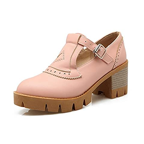 BalaMasa Womens Hollow Out Buckle Chunky Heels Pink Urethane Oxfords Shoes - 2 UK