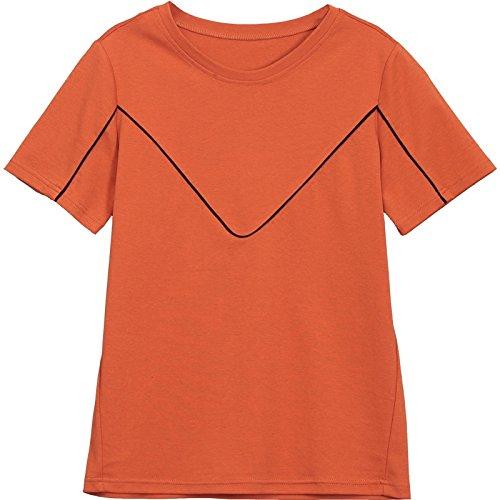 MoMo T-Shirt à Manches Courtes Été Lâche Mince Grande Taille Chemise Couleur Unie Col Coton Chemise,Agrumes,L