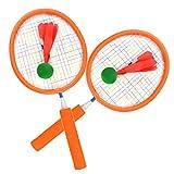 MRKE Badminton Set Kinder mit 2 Badminton Schlaeger, 2 Badminton Bälle, 1 Badminton Tasche, Badmintonschläger Spielzeuge für Kinde ab 3 Jahre (Orange)
