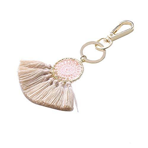 Emorias 1PC Keychain Taschenanhänger Vintage Quaste Anhänger Schlüsselbund Auto Keys Deko Anhänger Schlüsselanhänger Geschenk (Rosa)