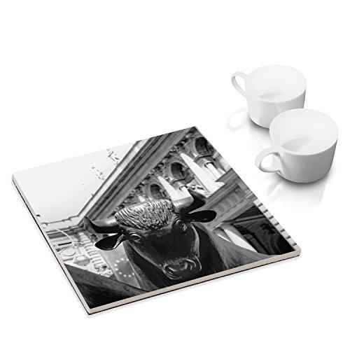 Keramik-Untersetzer mit Filzuntersatz für Esstisch und Küche - 15 x 15 cm - mit Fotokunst-Motiv: Bulle und Bär, Frankfurt Ausgefallene Esstisch