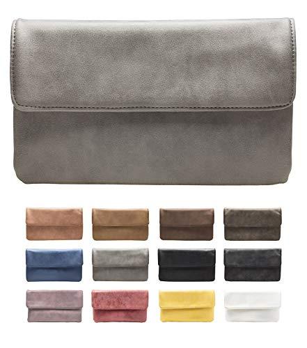 Klassische Metallic-gürtel (cecilia&bens Clutch Grau | Damen Abendtasche | kleine Handtasche)