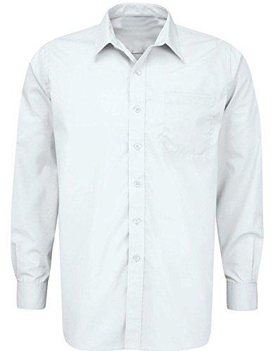 School Uniform Mens Regular Collar Long Sleeve Adult Button Cuffs Formal Shirt Only Uniform ®
