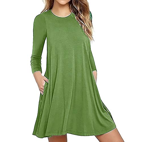 Yesmile Damen Kleider Frauen Solide Bodycon Minikleid Casual Lose Knielang Kleid