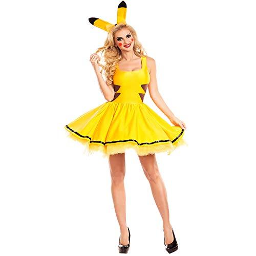 CoolTing M-XLhalloween Kostüme für Frauen sexy Plus Größe Pokemon Pikachu Kostüm Cosplay Weihnachten Party ausgefallen Kleid Tier Erwachsene Karneval,Yellow,L