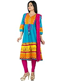 Rama Sky Blue Color Cotton Anarkali Kurta With Legging & Dupatta Set