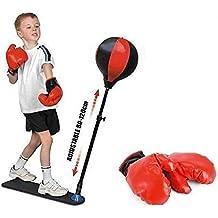 UNIBOS Punch Ball con guantes Independiente–Saco de boxeo velocidad de bola con base amortiguamiento ajustable altura nuevo