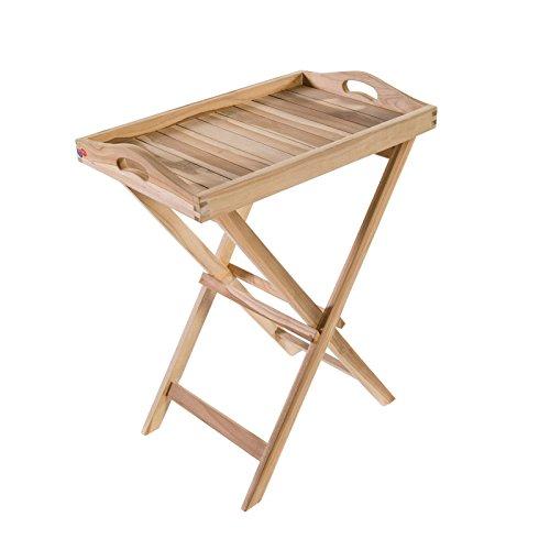 Klappbarer Beistelltisch Tablett aus Teak Holz 63x41x75 cm rechteckig - Holztisch massiv (Teakholz-möbel)