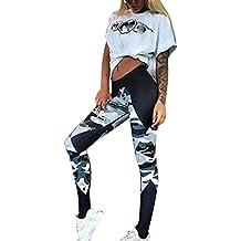 SKY Womens La sección larga de mallas de yoga camuflaje de costura YOGA Gym Sports Leggings Running Fitness Pants