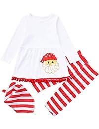 8d6a611def330 Sunenjoy 3 PCs Noël Ensemble Enfants Bébé Filles Vêtements Robe Santa  Imprimer Manches Longues Pull Sweatshirt