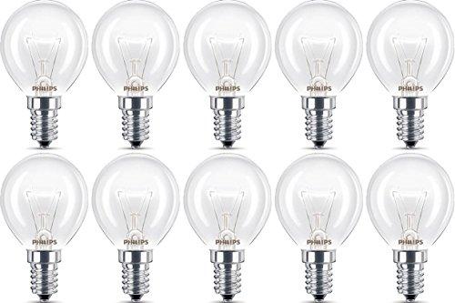 10x Philips Backofenlampe E14 40W Tropfenform 45mm Durchmesser, temperaturfest bis 300°C (10 Stück)