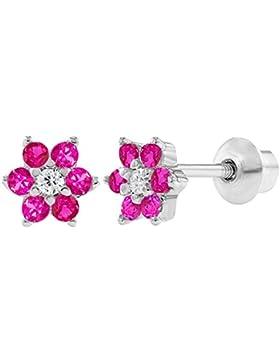 In Season Jewelry Baby Kleinkind Kinder - Schraubverschluss Ohrringe Heiße Rosa Blume 925 Sterling Silber CZ Zirkonia