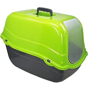 COM-FOUR® XXL Katzentoilette mit Bodenwanne und Abdeckung in grün, Katzenklo mit Schwingklappe und Luftfilter, 57 x 39 x 40,5 cm (01 Stück - grün)