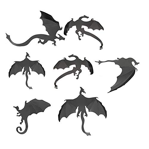 Price comparison product image TONVER Wall Stickers,  1 Set / 7 Pcs Creative 3D Flying Dragon Decorative Wall Sticker Art Craft Picture Self-adhesive Wallpaper Wall Decor Festive Window Stickers for Home,  Bedroom,  Living Room