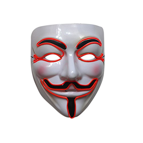 ten V für Vendetta Guy Fawkes LED Anonyme Rave Maske EL Wire (Vendetta Kostüme)