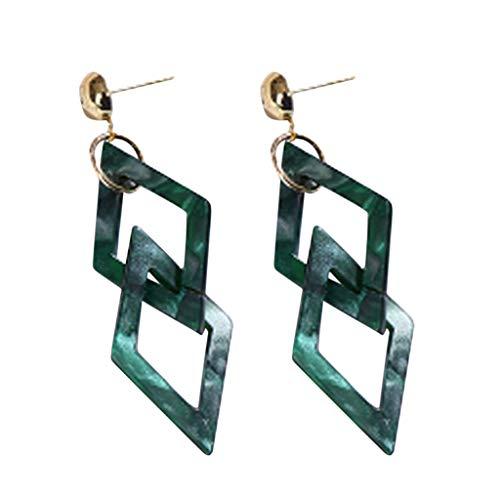 Vintage Acryl Acryl Geometrische Double Diamond Ohrringe Damen Schmuck Geschenk Für Mama Mom Damen Halskette Mit Herzanhänger Edelstahl Schmuck Damen (Grün)